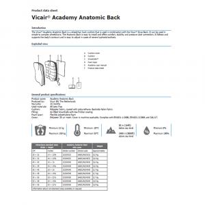 wheelchair back cushion Vicair Anatomic product data sheet
