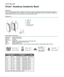 Vicair Anatomic Back Product data sheet
