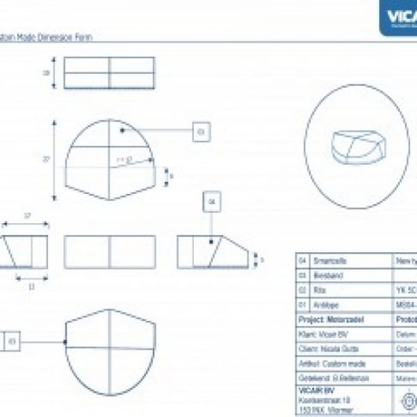 Wheelchair cushion Vicair Custom Made - Motor saddle drawings