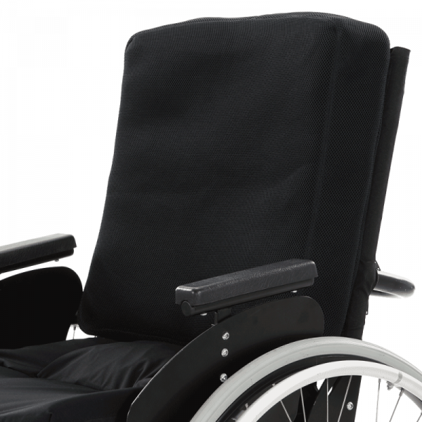 Wheelchair back support cushion Vicair Anatomic Back with cover in wheelchair